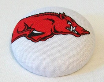 Red and White Arkansas Razorbacks Inspired Hog Unusual Large Fabric Button Pin Pendant Combo