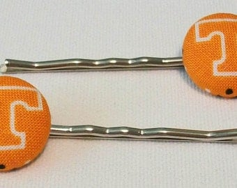 Cute Orange and White Tennessee Vols Inspired Button Metal Bobby Pins