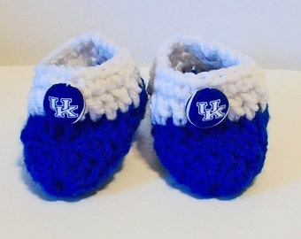 Adorable Hand Crocheted Baby Bootie Shoes Blue and White Kentucky Wildcats Inspired Great Photo Prop Matching Hat & Bib Also Available