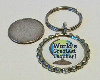 World's Greatest Teacher World Globe Metal Flattened Bottlecap Keychain Great Gift