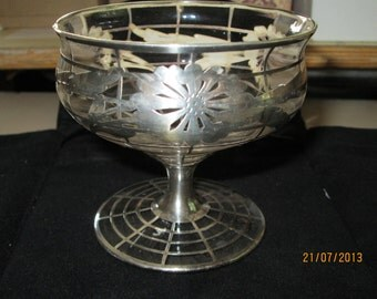 Vintage Art  Deco Sterling Overlay Custard Cup