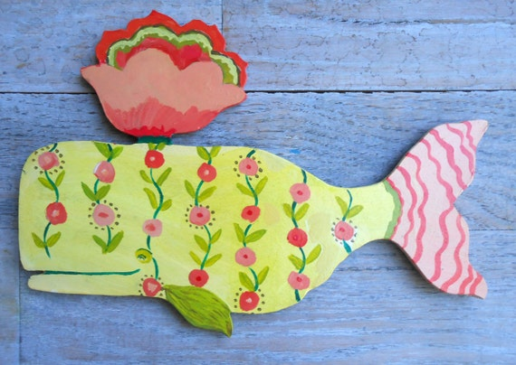 Sea Green Flowers Whale Wood Wall Sculpture