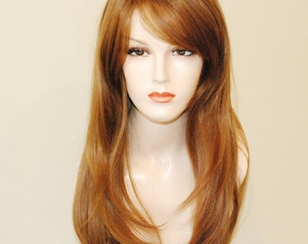 Auburn layered wig with bangs