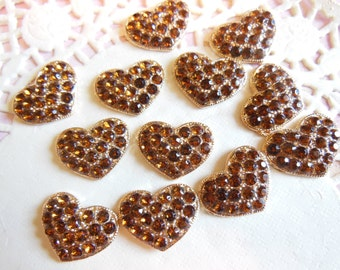 Set of 12 Topaz Colored Rhinestone Hearts-DIY Supplies