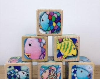 Rainbow Fish // Childrens Book Blocks // Natural Wood Toy
