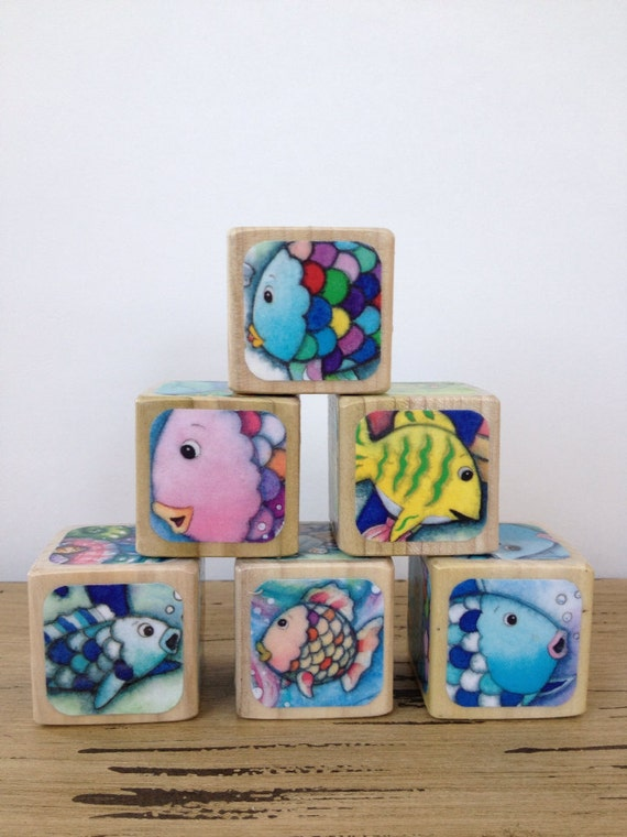 Items similar to rainbow fish childrens book blocks for Children s books about fish