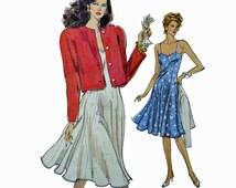 Vintage 80s Vogue Dress Pattern / Vogue 7191 Summer Sun Dress Pattern / Dress & Jacket Pattern / Spaghetti Strap Dress Pattern Size 12 14 16