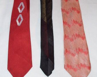 Lot of 3 Men's Vintage Neckties — 1940s, 50s and 60s