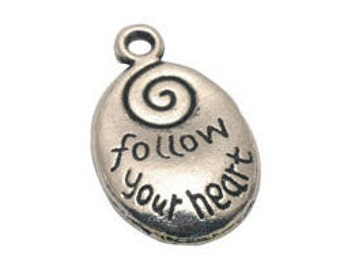 BULK 25 Silver Follow Your Heart Affirmation Charm Pendant 20x13mm by TIJC SP0099