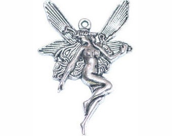 3 pcs - Silver Fairy Charm Large 42x29mm - Ships from Texas by TIJC - SP0101