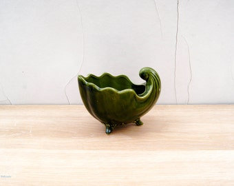 Vintage Green Cornucopia Footed Planter. Unknown maker pattern 804 A