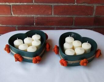 Fall Wedding  / Wedding Votive Candle Holder / Autumn Wedding Centerpiece / Fall Home Decor / Heart Decor / Forest Green / Orange /Putka Pod