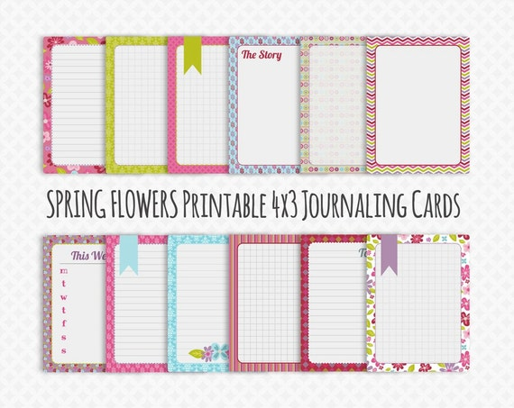 Instant Download - Printable Journal Cards - 4x3 in Spring Flowers