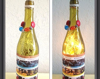 Police wine bottle lamp