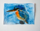 Ice Bird Original Watercolor. Unique Handpainted Bird Art. Ice Bird OOAK 6x8 ART Mothers Day gift - SparrowLittle