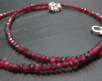 16 Inches Garnet Single Strand Necklace With 92.5 Sterling Silver Stone Size 2.50 mm Approx