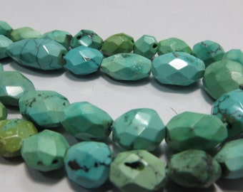 16 Inches Natural Color And Natural Stone Tibetan Turquoise Faceted Good Quality Size 6X8 mm To 10X13 mm   Approx