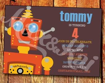 Robot Custom Printable Invitation - DIY Custom Printable 'Robot themed' Party Invitation