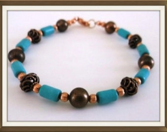 Gorgeous Turquoise Dyed Howlite and Copper 8 inch Bracelet  One of a kind