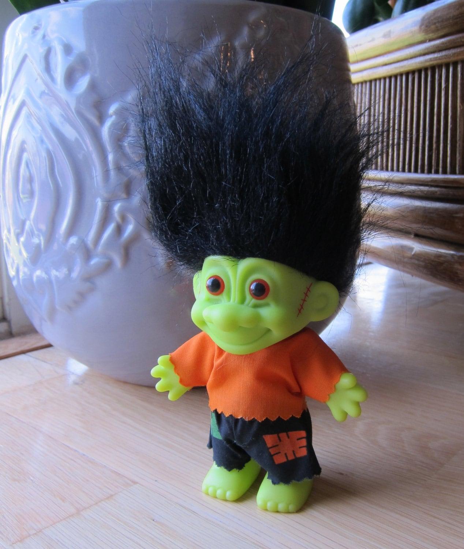 Vintage 90s Russ Troll Doll Frankenstein Troll Neon Green