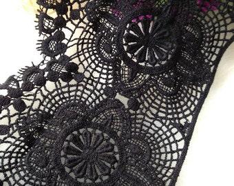 Cotton Lace Trim Black Venice Lace Embroidered Crochet Lace Trim for Costume Supplies 2 yards