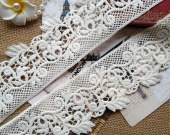 Retro Cream White Cotton Lace Trim for Applique, Costume Design, Sewing, Sashes, Crafting