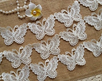 Pretty Butterfly Applique Lace Ivory Wedding Lace Trim for Bridal, Gift Wrap, Costume Design