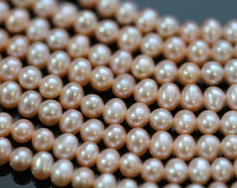 AAA Natural Champagne Peach Center-drilled Potato Freshwater Pearls, 4 - 5 mm, 16 inches, 90 beads (FP0201PO)