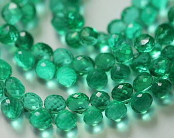 Emerald Green Quartz Faceted Onion Briolettes, 7 - 8 mm, 8 inches, 54 beads GM2205FO/7 #103