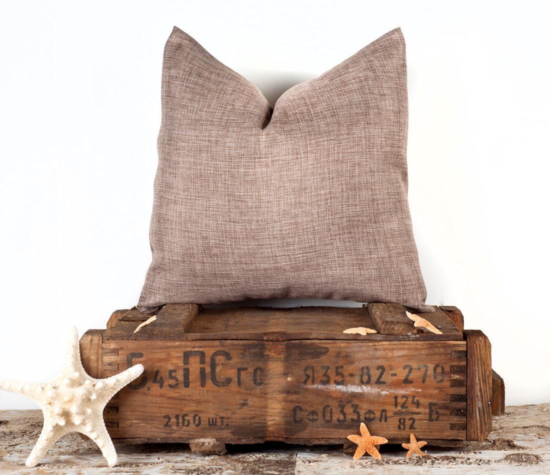 Brown Linen Throw Pillow : Brown Solid Pillow Cover Case Plain Linen Throw Pillow