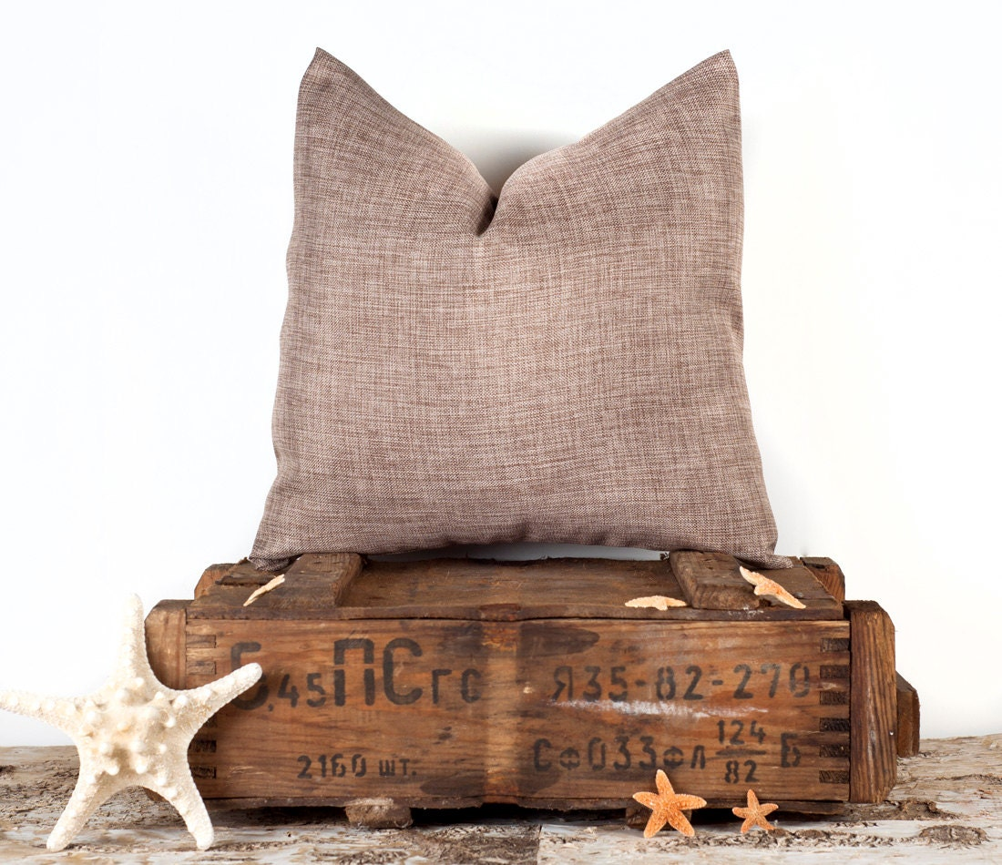 Brown Solid Pillow Cover Case Plain Linen Throw Pillow