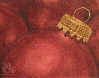 """SALE Original """"Tis The Season"""" Watercolor Painting, 5x7 painting, red & gold ornaments, holiday decoration"""