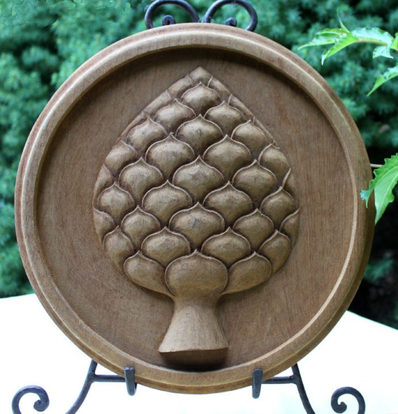 Wood carving pine cone or pineapple wall hanging decor hand