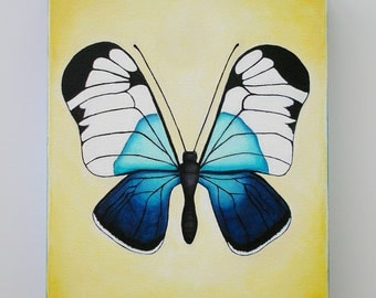 Butterfly Art, Original Acrylic on canvas painting of Butterfly, Blue and Yellow