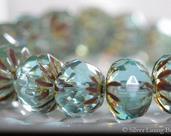Water Kissed (10) - Czech Glass Bead- 9x6mm - Faceted Cruller