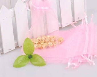 100  2.75''x3.54'' Pink Organza Jewelry Gift Pouch Bags Great For Wedding favors, sachets, beads, jewelry, and more