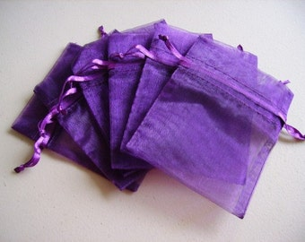 100  2.75''x3.54''  Purple Organza Jewelry Gift Pouch Bags Great For Wedding favors, sachets, beads, jewelry, and more