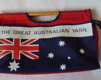 The Great Australian Yarn sewing case cane handles Aussie Flag Zipper