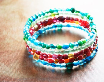 Large Memory Wire Bracelet with Multicolor Glass Beads