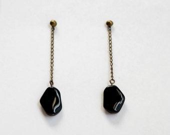 Jet Black Glass Stone Drop Earrings