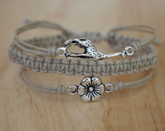 Giraffe + Braid + Flower Charm Adjustable Natural Hemp Bracelet 3-in-1