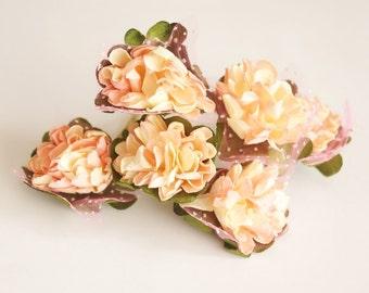 Bridal Hair Accessories,Cream, Salmon  flower Hair Bobby Pin, Brass Bobby pin- set 6