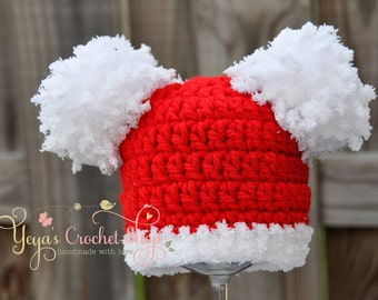 Pom Pom Crochet Hat,  Baby Accessories, Newborn Size, Infant Hat , Beanie