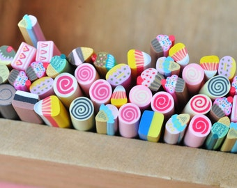 50pcs Polymer Clay Cane Stick Assorted Mixed Sexy Fimo Nail Art Manicure Deco Earring Scrapbooking Design Kawaii Lollipop Pattern 502001_2