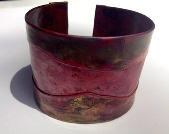 Rustic copper cuff, folded