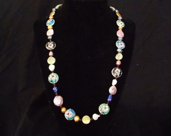 Cloisonne necklace with  fresh water pearls