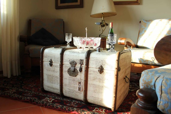 Prenotato da francine antico baule vintage da viaggio o - Baule come tavolino ...