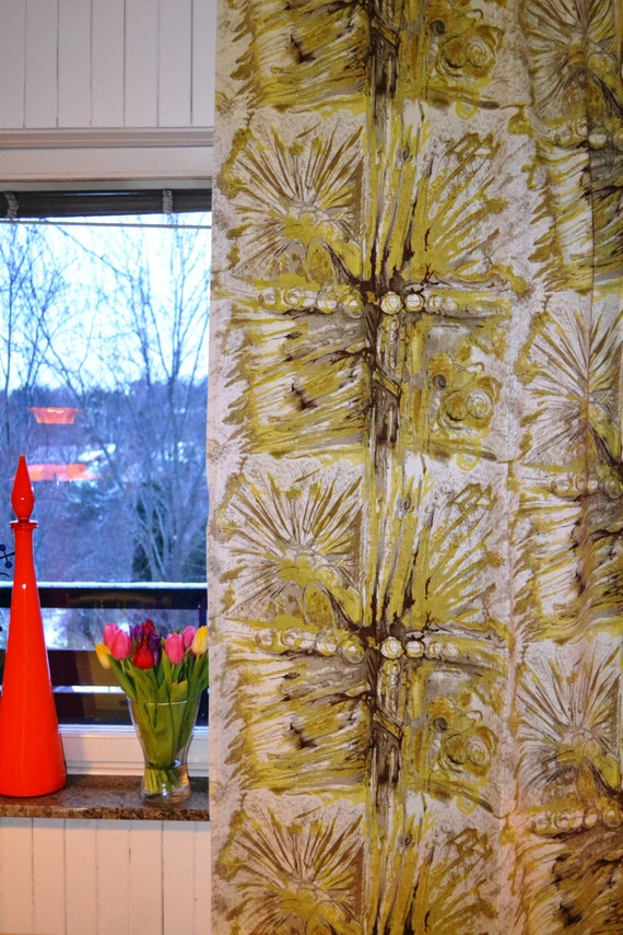 Vintage Scandinavian Curtains Fabric1970s From Sweden