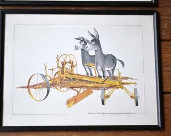 Vintage Antique Farm Equipment Framed Print Set of 2 Mule Tractor PanchosPorch