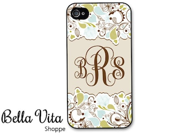 Monogrammed iPhone 4 Case -  Pretty Floral Green Blue Monogram iPhone 4s Case, iPhone 4 Protective Case, Rubber iPhone 4 Cases I4C